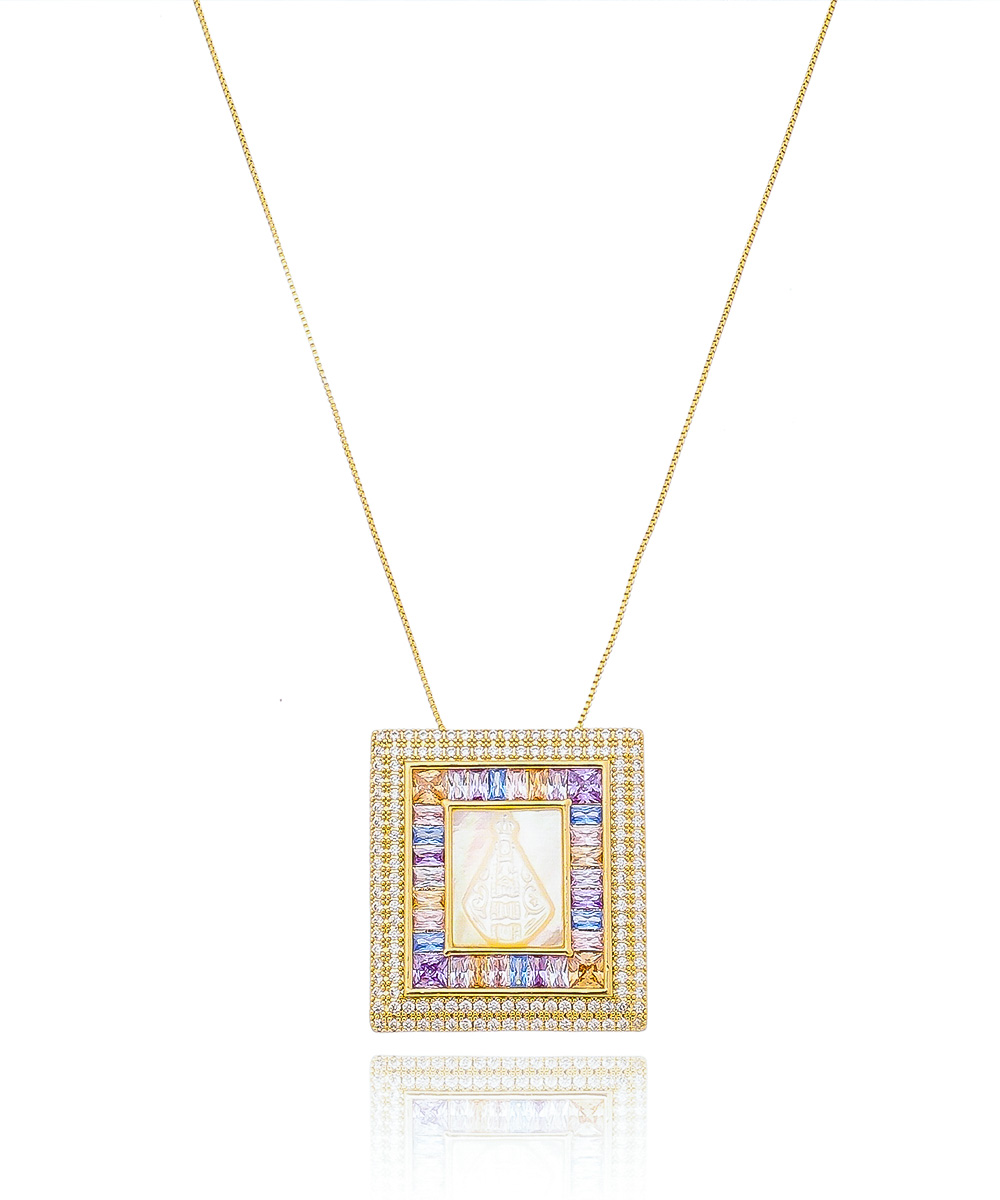 Colar Infinity Nossa Senhora com Zircônia Multicor e Madrepérola Banhado à Ouro