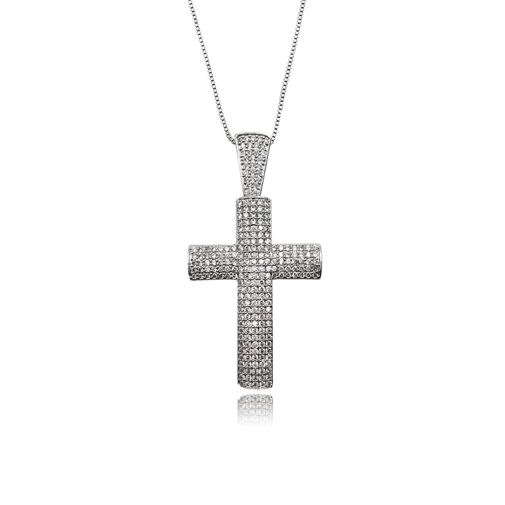 Colar de Zircônia Crucifixo Ródio Branco