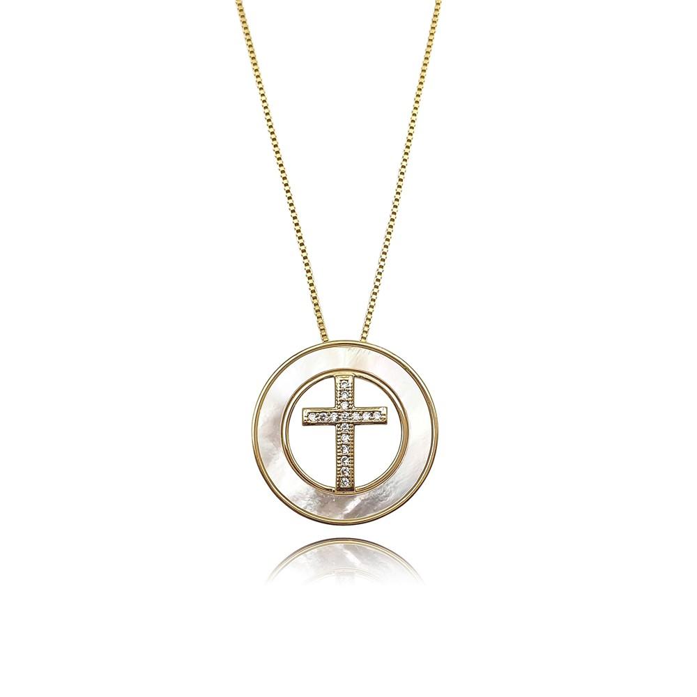 Colar de Zircônia e Madrepérola Crucifixo Mandala Banhado à Ouro