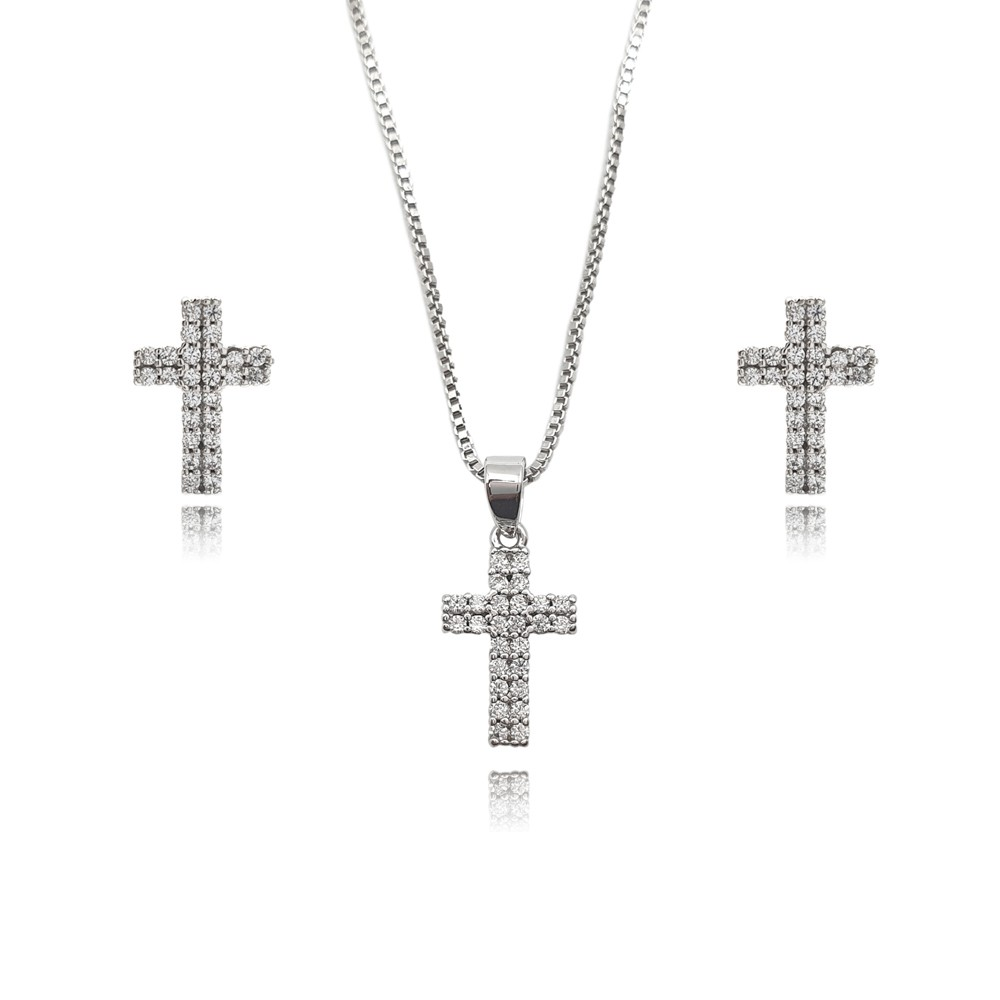 Conjunto de Zircônia Crucifixo Ródio Branco