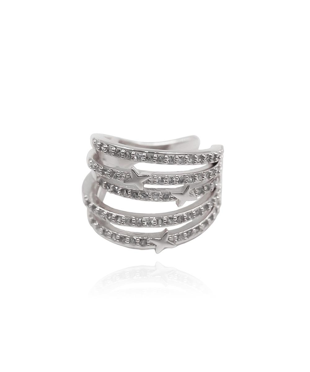 Piercing Fake Infinity de Zircônia com Design de Estrelas Ródio Branco