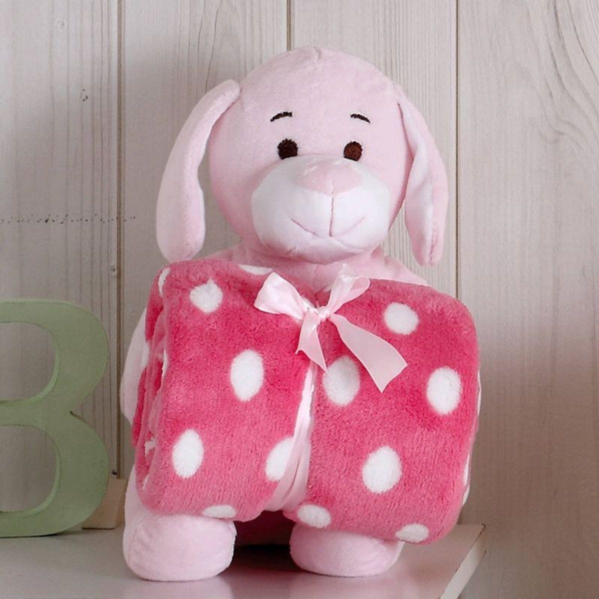 Kit Baby Cachorrinha Rosa Com Manta 1,00x0,75cm
