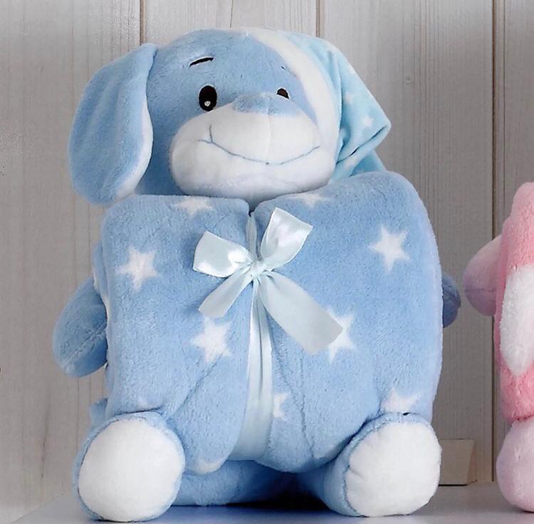 Kit Baby Cachorro Azul com Capuz Com Manta 1,00x0,75cm