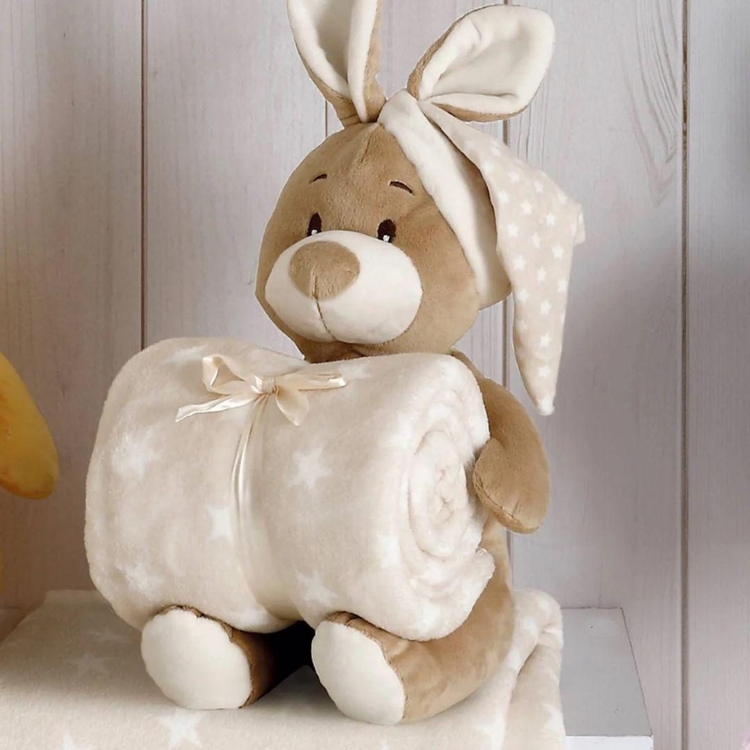 Kit Baby Coelho Bege com Capuz Com Manta 1,00x0,75cm