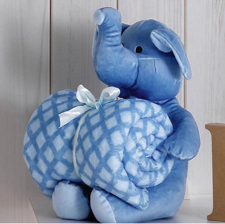 Kit Baby Elefante Azul Com Manta 1,00x0,75cm