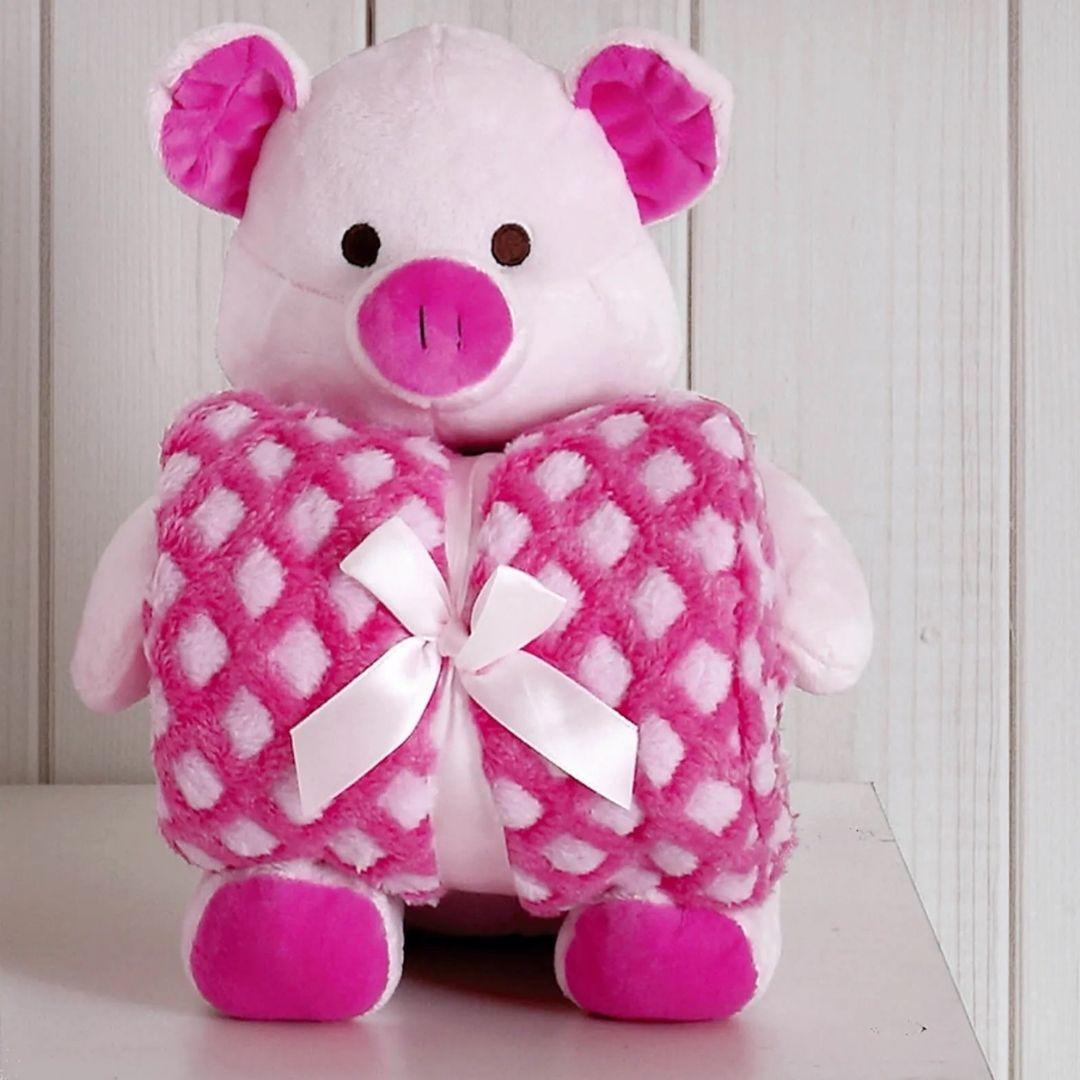 Kit Baby Porquinha Rosa Com Manta 1,00x0,75cm