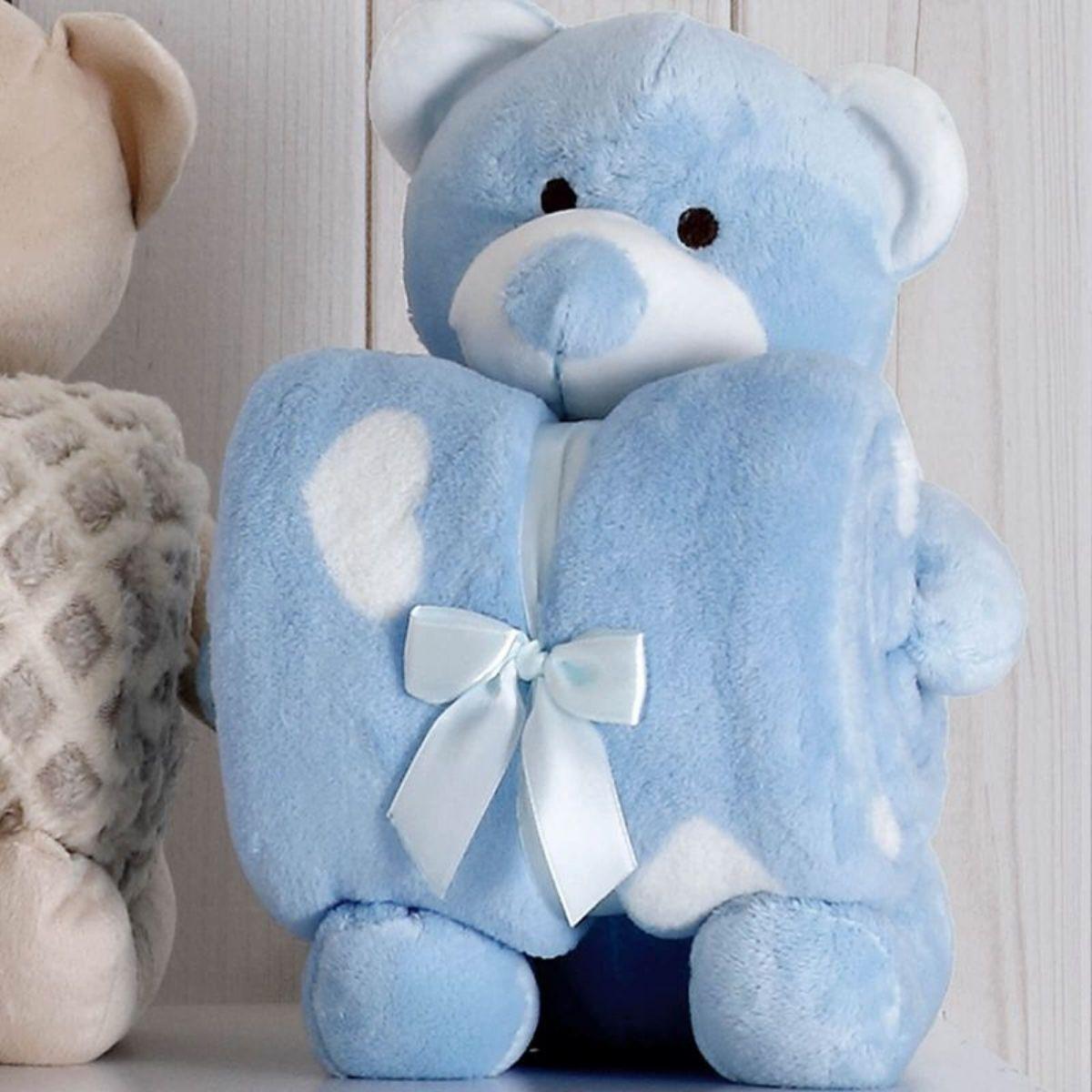 Kit Baby Urso Azul Com Manta 1,00x0,75cm