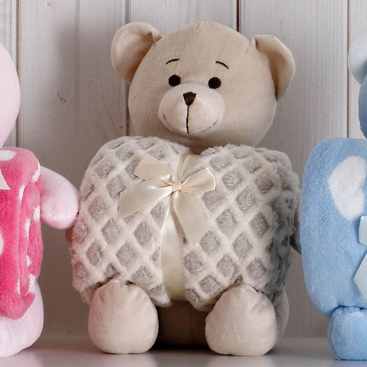 Kit Baby Urso Bege Com Manta 1,00x0,75cm