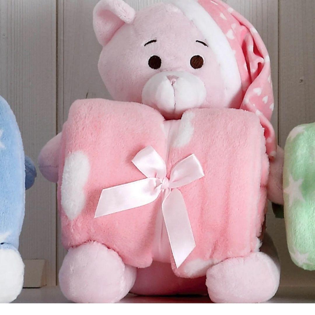 Kit Baby Urso Rosa Com Chapéu Com Manta 1,00x0,75cm
