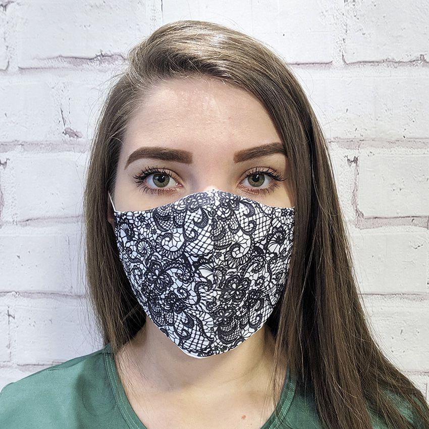 Máscara Renda Preta e Branca