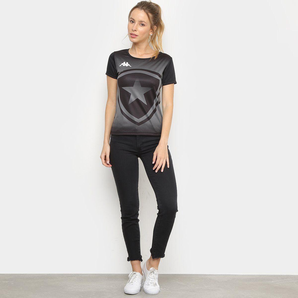 Camiseta Botafogo Escudo Kappa Feminina - Preto