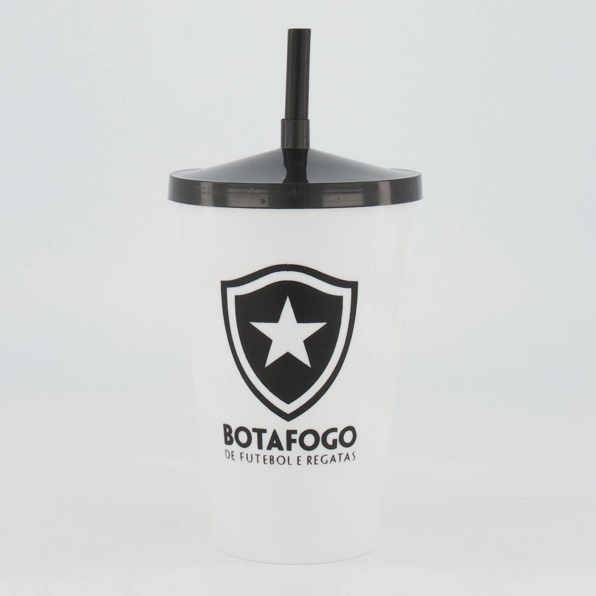 Copo Plástico Botafogo 800ml Branco e Preto