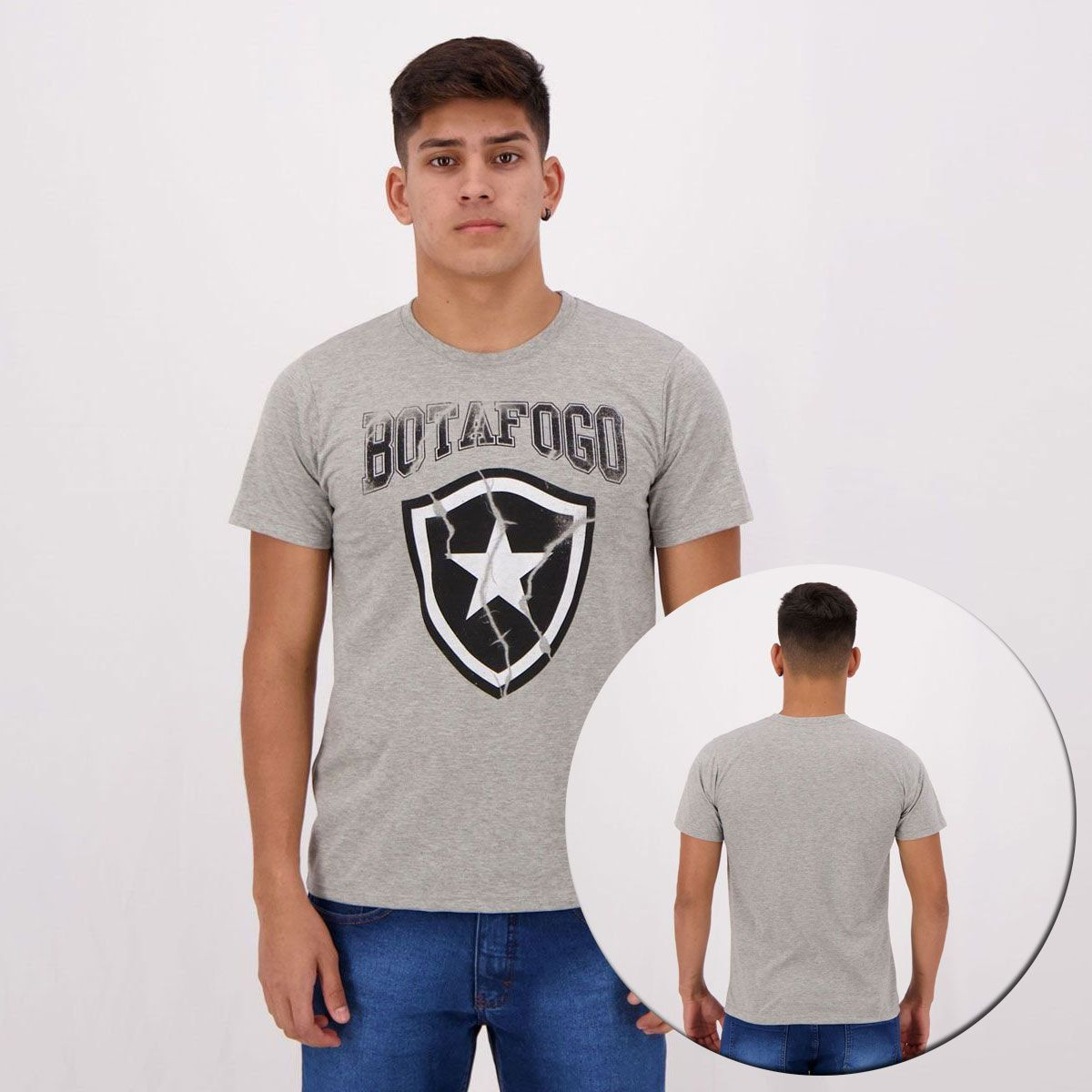 Kit de 2 Camisetas Botafogo Cinza e Preta