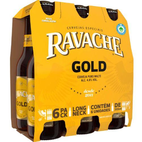 Cerveja Ravache Gold LN 355ml - Pack com 6 unidades