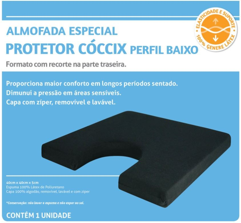 ALMOFADA ESPECIAL PROTETOR CÓCCIX PERFIL BAIXO PRETO - PERFETTO