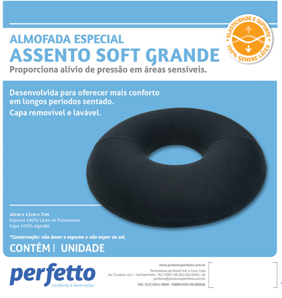 ASSENTO SOFT GRANDE LÁTEX PRETO - PERFETTO