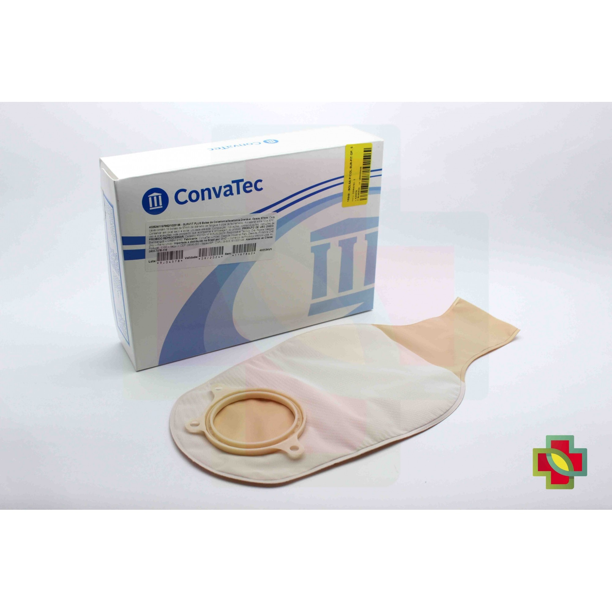BOLSA DE COLOSTOMIA SUR-FIT PLUS 2 PEÇAS OPACA 57MM (C/10) 402534 - CONVATEC