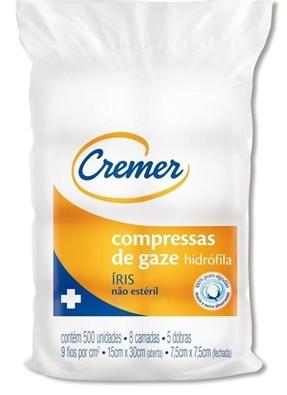 COMPRESSA DE GAZE 7,5X7,5CM 09F IRIS PACOTE C/5000 - CREMER