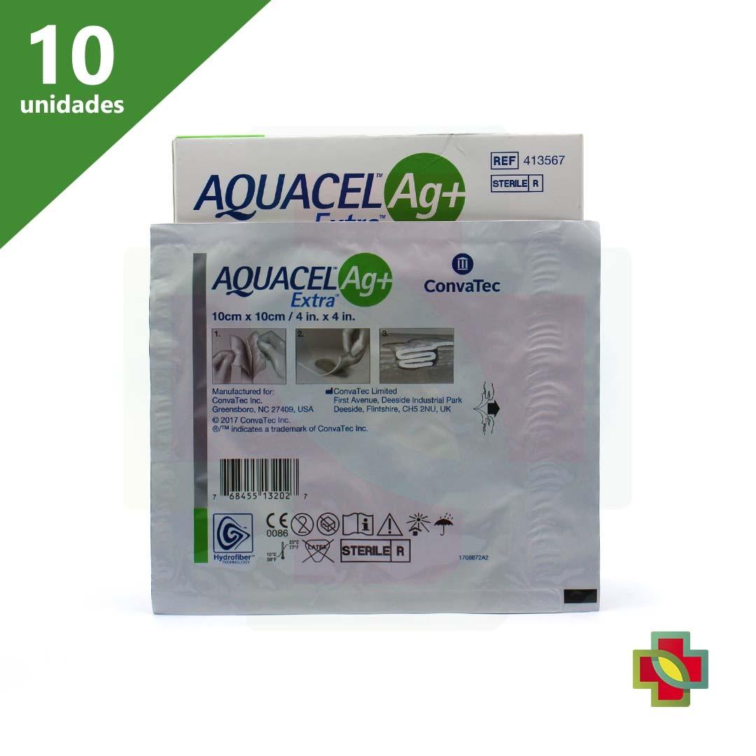 CURATIVO AQUACEL AG+ EXTRA 10 X 10 CM (CX C/ 10 UNDS.) 413567 - CONVATEC