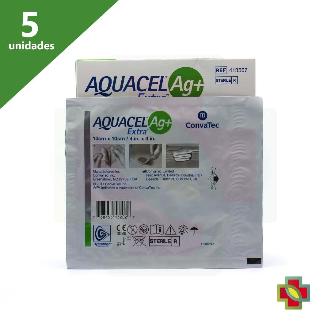 CURATIVO AQUACEL AG+ EXTRA 10 X 10 CM (CX C/ 5 UNDS.) 413567 - CONVATEC