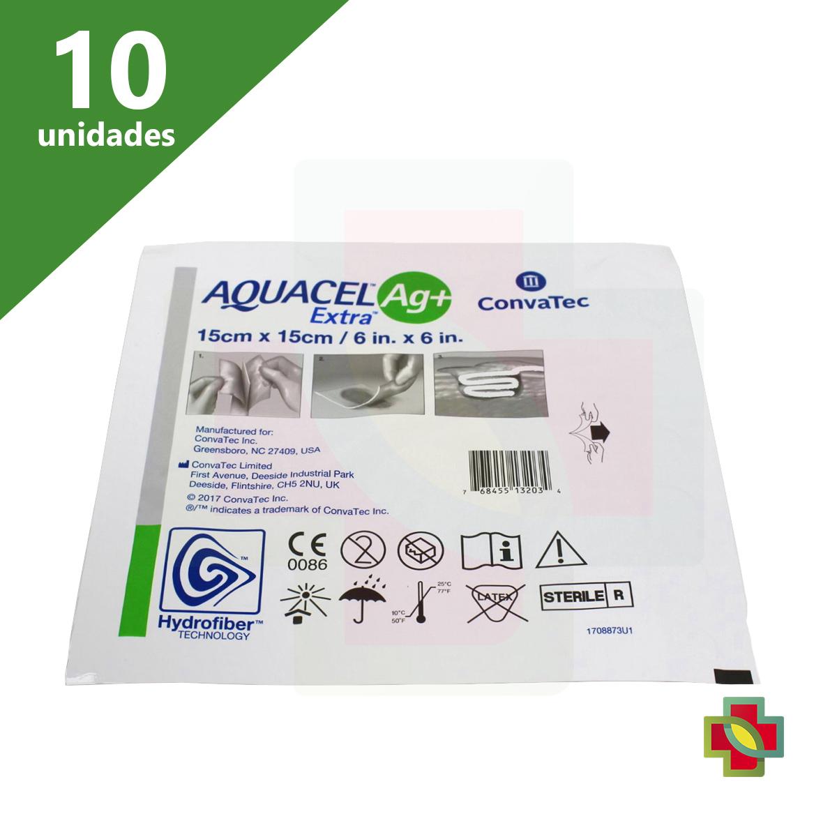CURATIVO AQUACEL AG+ EXTRA 15 X 15 CM (CX C/10 UNDS) - CONVATEC