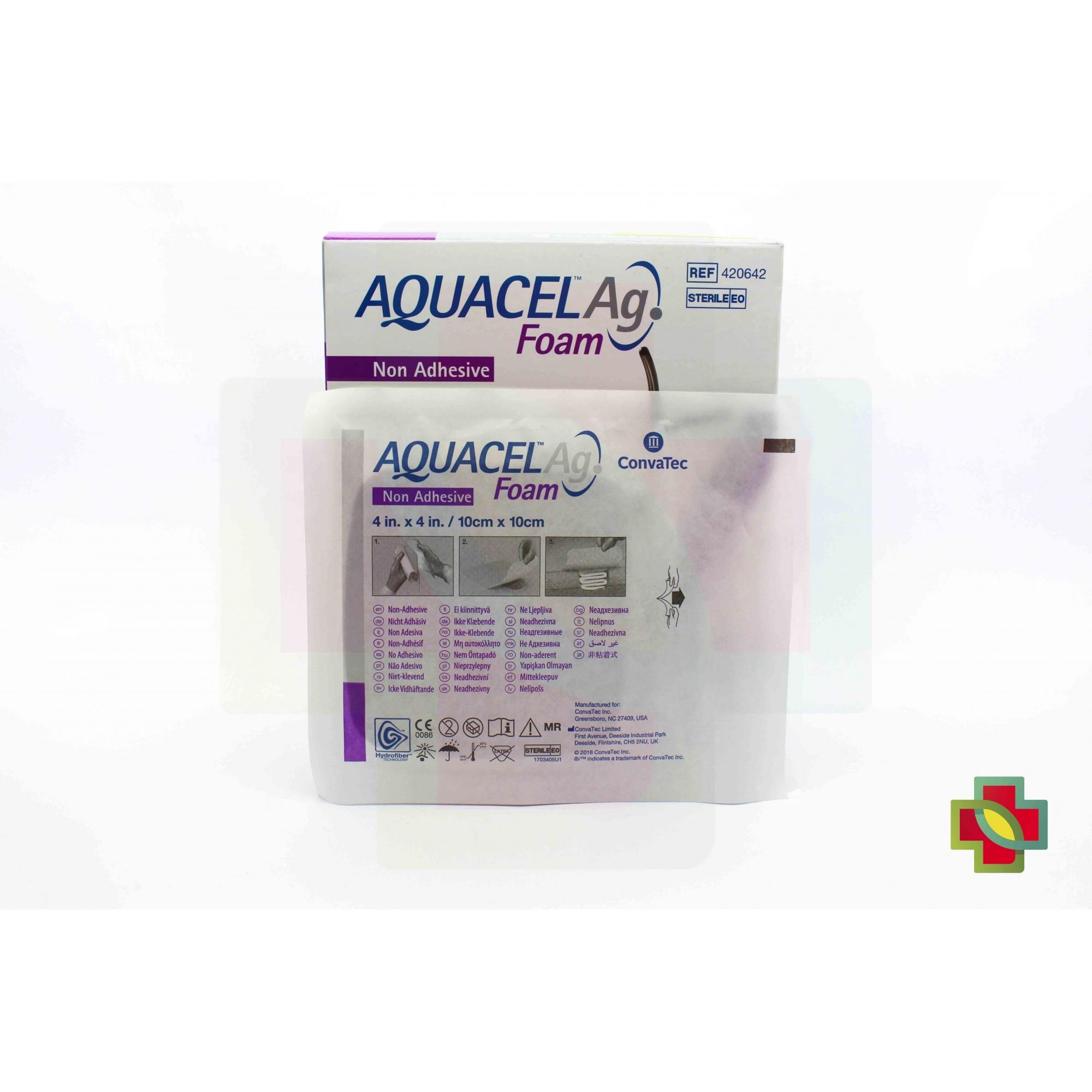 CURATIVO AQUACEL AG FOAM SEM ADESIVO 10 X 10 UND 420642 CONVATEC