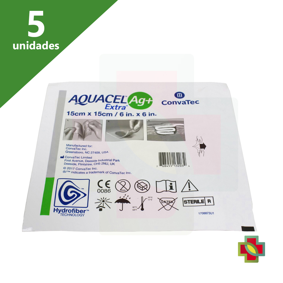 CURATIVO AQUACEL EXTRA AG+ 15 X 15 BR10378 (KIT C/ 5 UNDS)