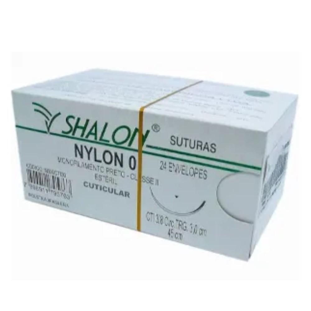 FIO NYLON 0 COM AGULHA 3/8 3CM TRG 45CM (24 ENV) N500CTI30 - SHALON