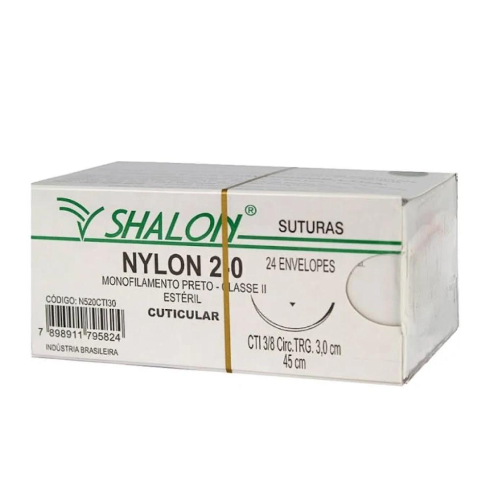 FIO NYLON 2-0 COM AGULHA 3/8 3CM TRG 45CM (24 ENV) N520CTI30 - SHALON