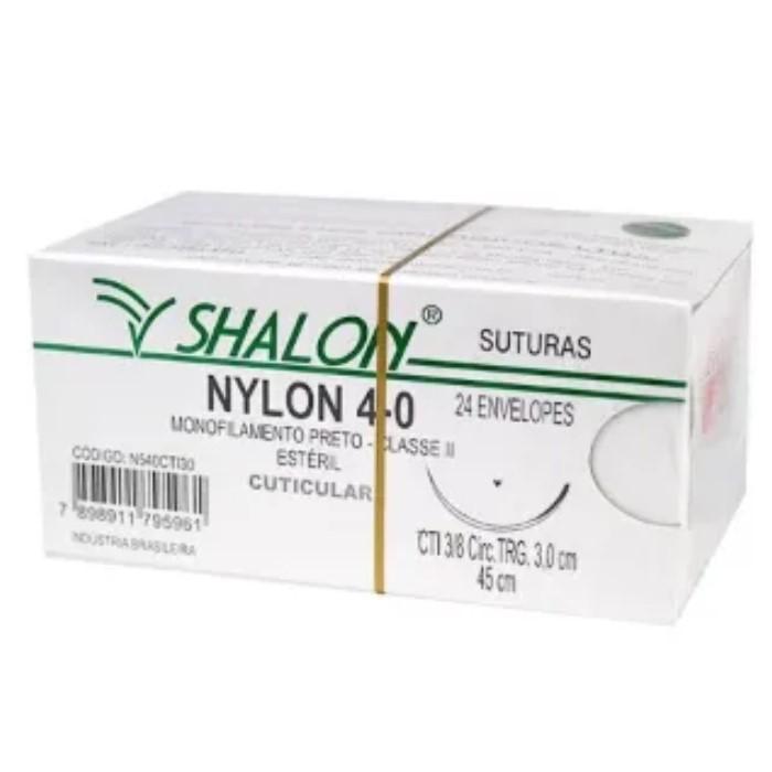 FIO NYLON 4-0 COM AGULHA 3/8 3CM TRG 45CM (24 ENV) N540CTI30 - SHALON