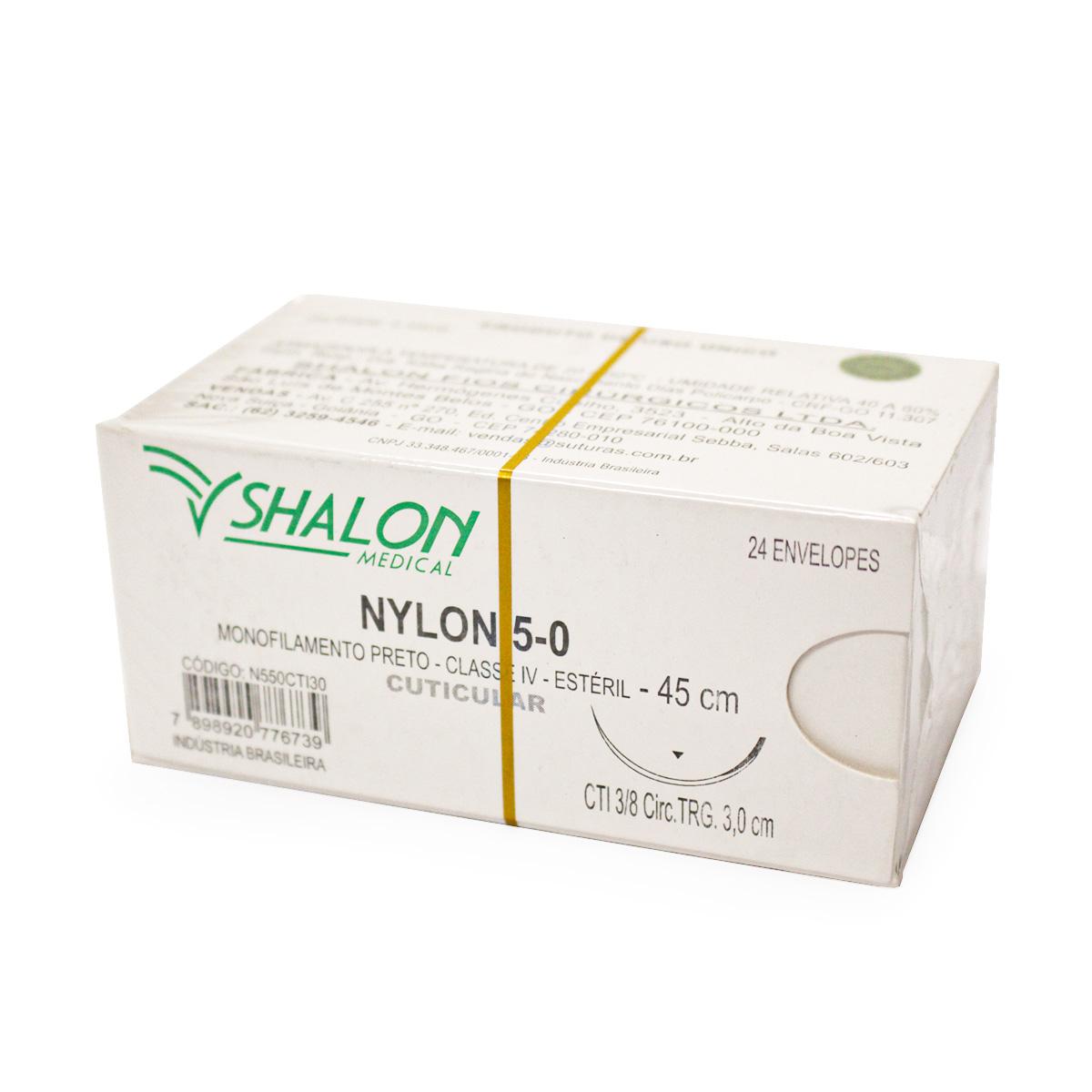 FIO NYLON 5-0 COM AGULHA 3/8 3CM TRG 45CM (24 ENV) N550CTI30 - SHALON