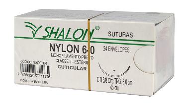 FIO NYLON 6-0 C/AGULHA 3/8 3CM TRG 45CM C/24 ENVELOPES N560CTI30 - SHALON