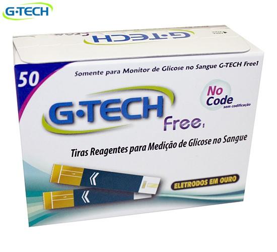 FITA DE GLICEMIA G-TECH FREE (CX C/ 50 TIRAS) MEDIÇÃO DE GLICOSE  -  G-TECH