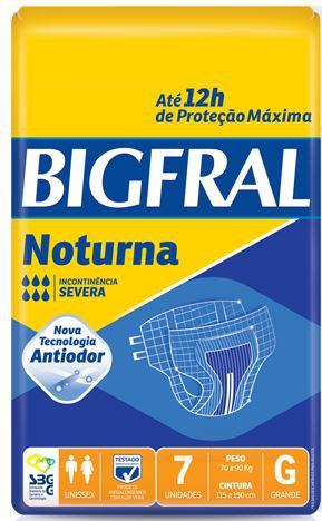 FRALDA GERIÁTRICA BIGFRAL NOTURNA (TAM. G - PCT C/ 07 UNDS.) - BIGFRAL