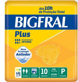 FRALDA GERIÁTRICA BIGFRAL PLUS (TAM. P - PCT C/ 10 UNDS.) - BIGFRAL