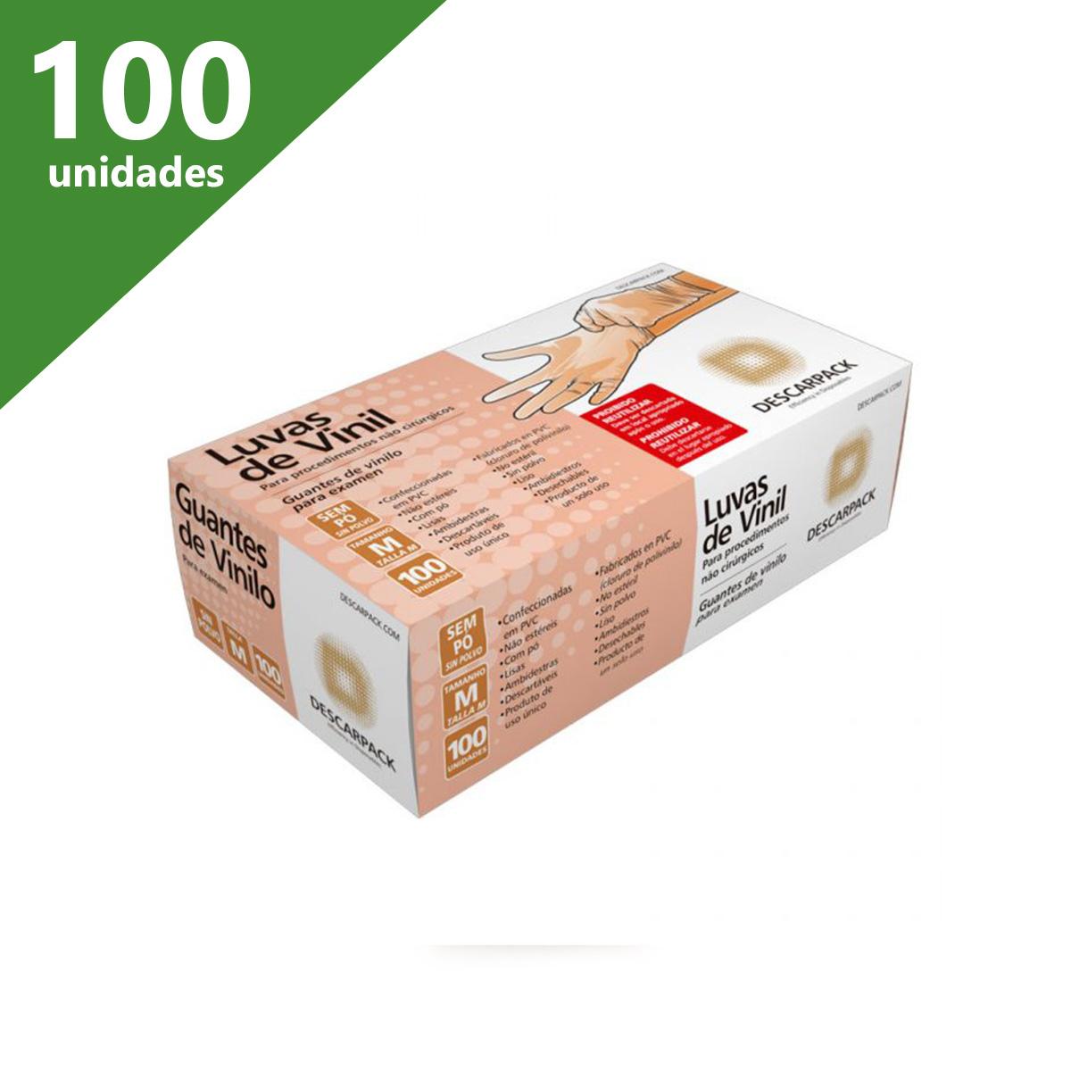 LUVA DE PROCEDIMENTO DE VINIL M SEM PÓ (C/100) - DESCARPACK