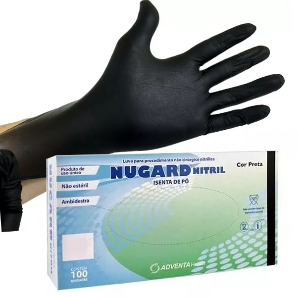 LUVA DE PROCEDIMENTO NITRÍLICA PRETA S/PÓ (C/100 UND) - NUGARD