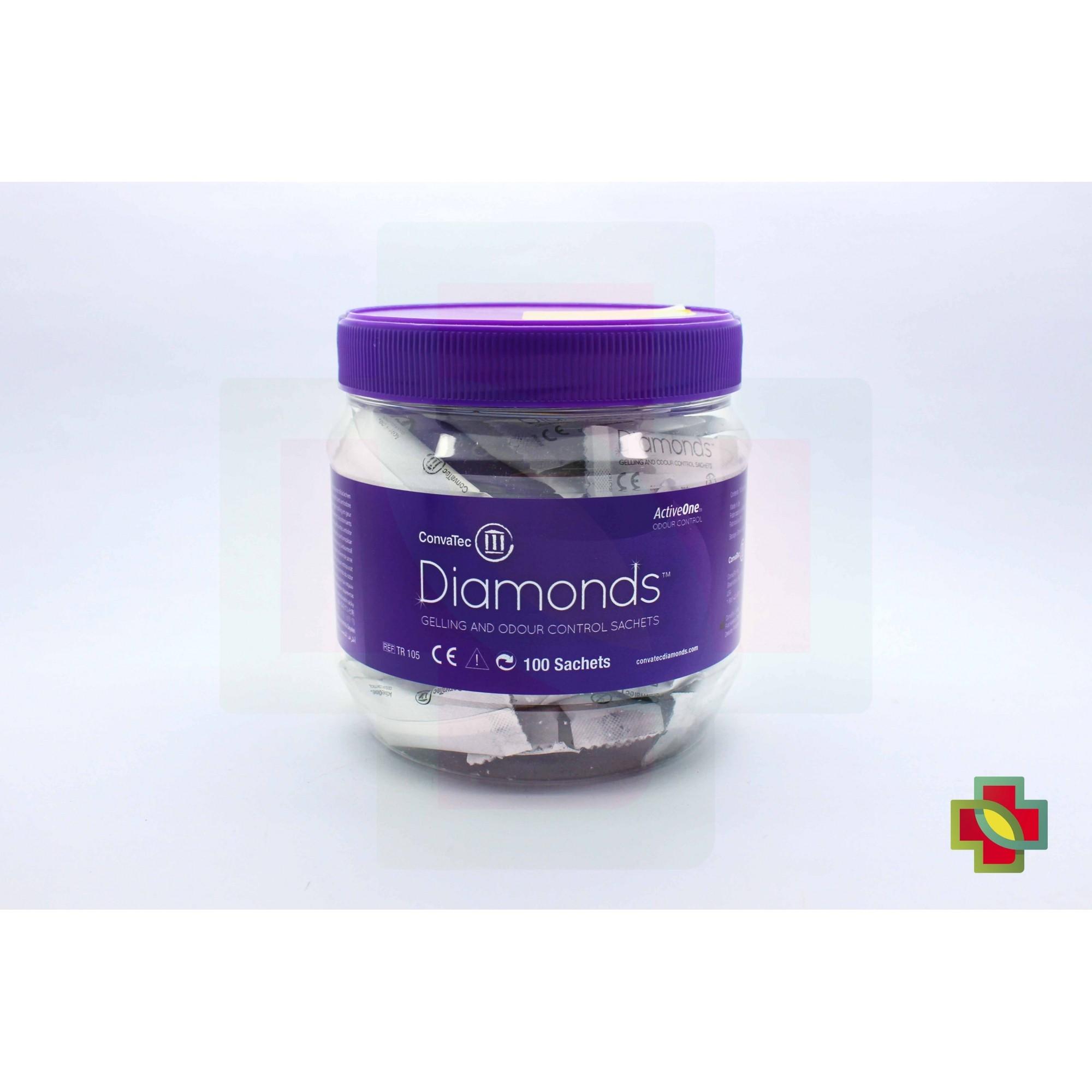 SACHÊS GELIFICANTES DIAMONDS PARA COLOSTOMIA E ILEOSTOMIA (CX C/ 100 UNDS.) 10273  - CONVATEC