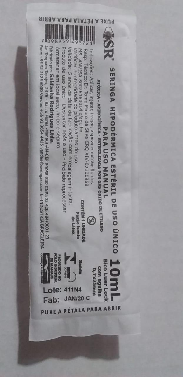 SERINGA DESCARTÁVEL 10 ML C/AG 25X7 SLIP (C/500) SR