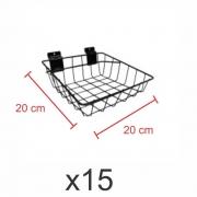 Cestos para painel canaletado 20x20 cm preto - Pacote com 15