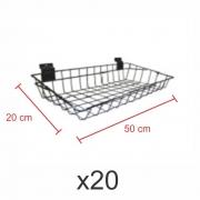 Cestos para painel canaletado 20x50 cm preto - Pacote com 20