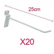 Ganchos 4mm branco de 25 cm para painéis canaletado - Pacote com 20
