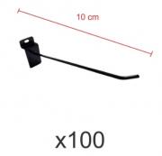Ganchos 4mm preto de 10 cm para painel canaletado - Pacote com 100