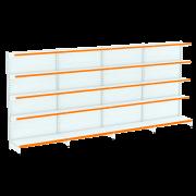 Kit 4 Gôndolas Parede Para Supermercado 1 Inicial + 3 Continuação 170cm | Flex 40