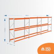 Kit Mini Porta Pallets 01 Inicial + 02 Continuação 250KG 03 Níveis ALT 2,00 X PROF 0,60 X COMP 3,60