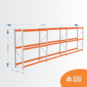 Kit Mini Porta Pallets 01 Inicial + 02 Continuação 250KG 03 Níveis ALT 2,00 X PROF 0,60 X COMP 5,40