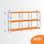 Kit Mini Porta Pallets 01 Inicial + 02 Continuação 500KG 03 Níveis ALT 2,00 X PROF 0,80 X COMP 3,60