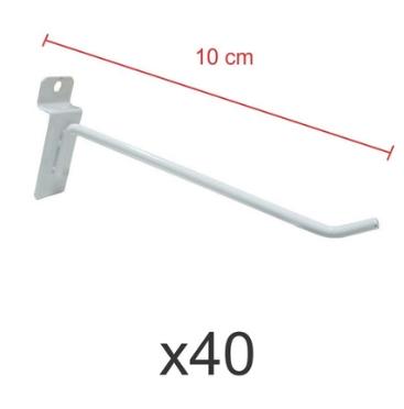 Ganchos 4mm branco de 10 cm para painel canaletado - Pacote com 40