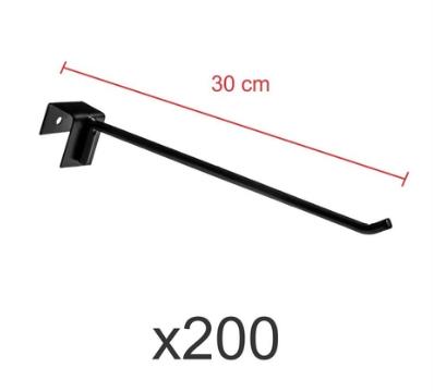 Ganchos 4mm preto de 30 cm para gondola, para porta gancheira 20x20 e 20x40 - Pacote com 200