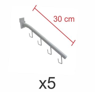 Ganchos rt para bolsas e cintos branco de 30 cm para painel canaletado - Pacote com 5